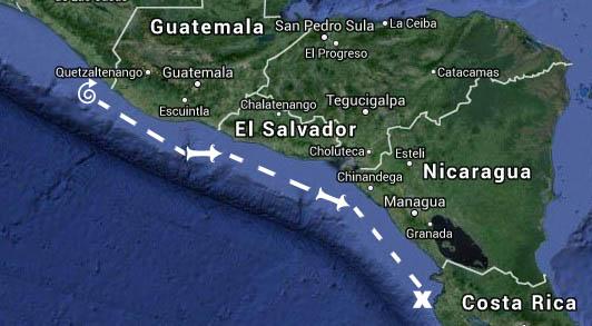 #Chiapas, MX to Playa del Coco, CR_Map