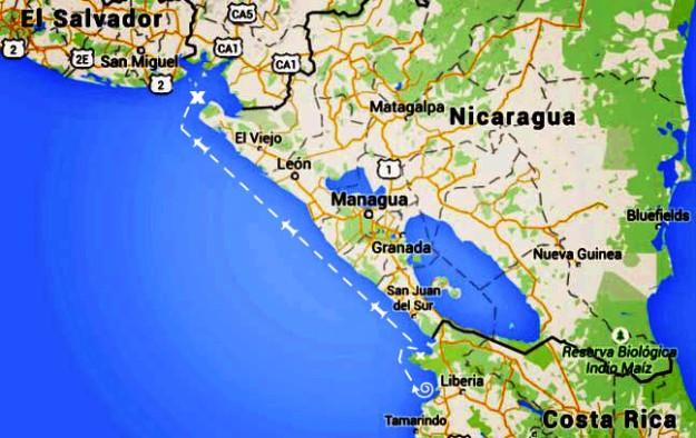 Map Bahia Huevos to Golfo de Fonseca1