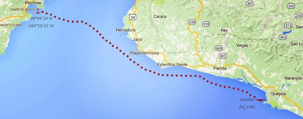 Ballena beach to Quepos_map