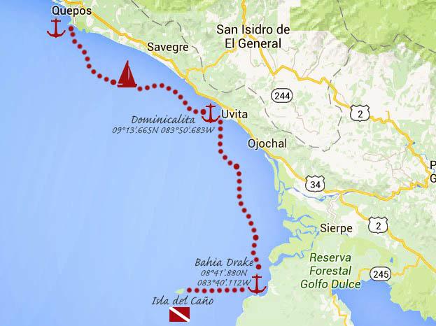 #Quepos to Bahia Drake_map